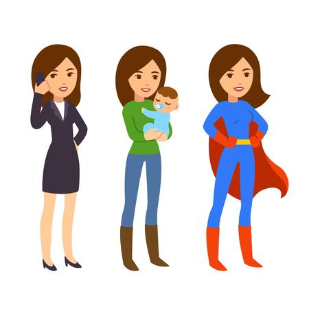 concept de Superwoman. Maman avec bébé, femme d'affaires sur le téléphone et en costume de super-héros. la vie drôle et l'équilibre de travail illustration.