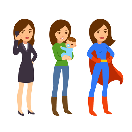 superwoman: Superwoman concept. Mom with baby, businesswoman on phone and in superhero costume. Funny life and work balance illustration. Illustration