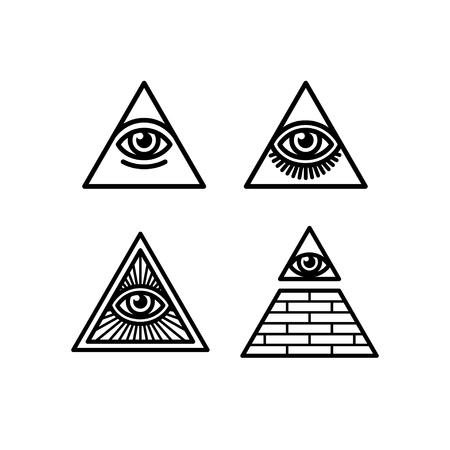 seeing: All Seeing Eye icons set. Illuminati symbol in different styles. Illustration