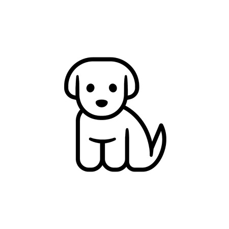 Little puppy icon. Simple cute cartoon dog vector illustration. Vet or pet shop  イラスト・ベクター素材