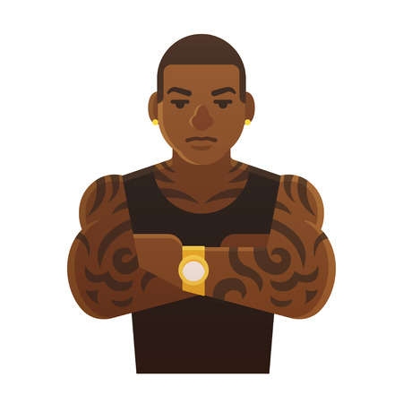Young tattoed black man with arms crossed. Athlete, hip hop singer or gang member. Flat cartoon style vector illustration.