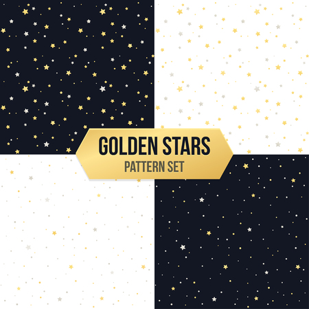 shiny background: Seamless star pattern set. Tileable vector backgrounds of golden and silver metellic stars on white and black. Illustration