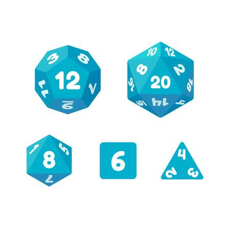 rpg: Set of dice for fantasy RPG tabletop games. Cube and polyhedrons with numbers. Flat vector icons. Illustration