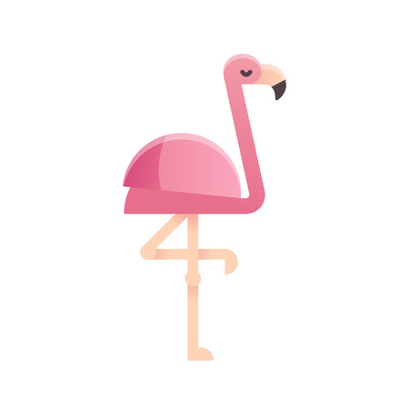 one animal: Pink flamingo in modern flat geometric style. Isolated vector illustration.