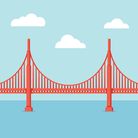 web design bridge: Golden Gate Bridge illustration. Flat cartoon vector style with vintage colors.