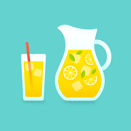 refreshing: Refreshing lemonade illustration. Glass with straw and pitcher with lemons and ice cubes. Retro style illustration with vintage texture.