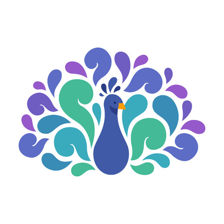 swirls vector: Abstract Peacock illustration with beautiful color swirls. Vector bird logo.