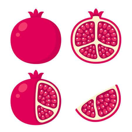 wedge: Pomegranate icon set. Cartoon illustration of whole pomegranate, cut in half, with skin peeled and a wedge.