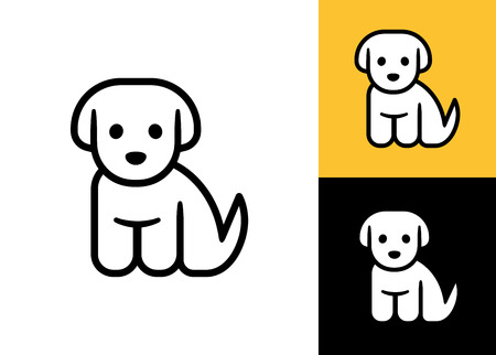 Puppy icon isolated on white, black and yellow background. Cute little cartoon dog vector illustration. Vet or pet shop logo.