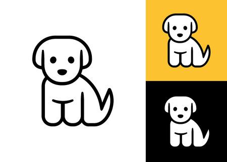 Puppy-Symbol auf weißem, schwarzen und gelben Hintergrund. Nette kleine Cartoon-Hund Vektor-Illustration. Tierarzt oder Tierhandlung Logo.