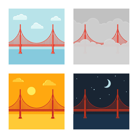 bay area: Golden Gate Bridge vector illustration set in different time and weather. Flat cartoon style.