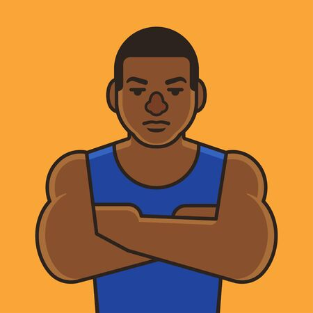 intimidating: Muscular black man, basketball or football player. Simple vector illustration in flat cartoon style. Illustration