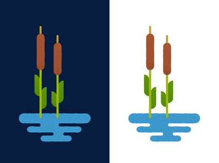 bog: Cattails in lake on white and blue background. Vector illustration in flat geometric cartoon style. Reed logo or icon.