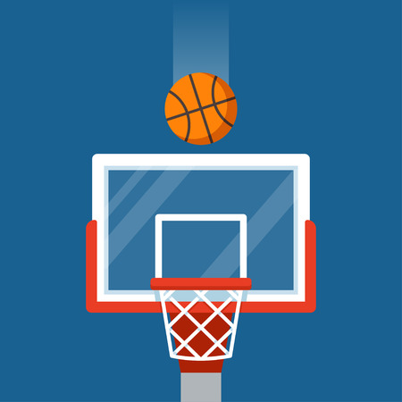 Basketball hoop and ball illustration. Flat cartoon vector icon.