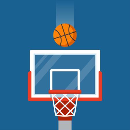 Basketball hoop and ball illustration. Flat cartoon vector icon. Illustration