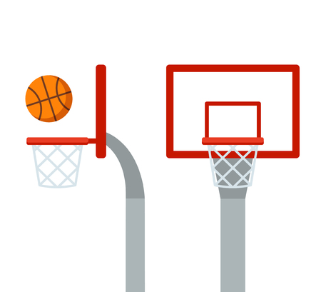 Basketball hoop and ball, front and side view. Flat cartoon vector isolated illustration. Stock Illustratie