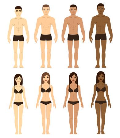 cuerpo hombre: Conjunto de diversos hombres y mujeres en ropa interior. Asiática, de raza caucásica, Brown y piel Negro. Carrera ilustración diferencia. Frente frente a todo el cuerpo. Vectores