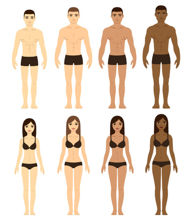 Set of diverse men and women in underwear. Asian, Caucasian, Brown and Black skin. Race difference illustration. Front facing full body. Vettoriali