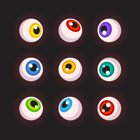 cartoon halloween: Human eyeballs set, different colors. Cartoon Halloween design elements. Vector illustration.