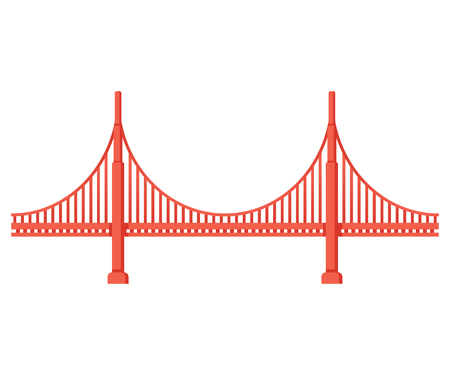 Golden Gate Bridge side view. San Francisco symbol isolated vector illustration.  イラスト・ベクター素材