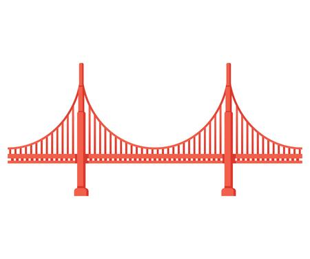 Golden Gate Bridge side view. San Francisco symbol isolated vector illustration. 일러스트