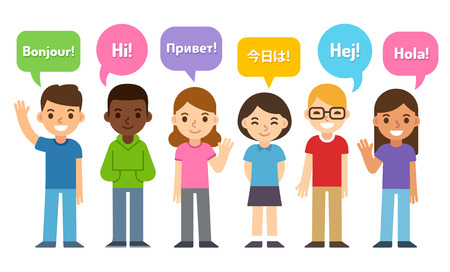 Diverse group of kids saying Hi in different languages. Cute cartoon flat vector style. Language learning and international education infographic vector illustration. Vettoriali