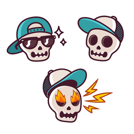 Set of funny cartoon skull character in baseball cap. Cool skull with sunglasses, angry with flame in eyes. Sticker collection. Stock Illustratie
