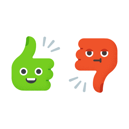 thumbs down: Cartoon Thumbs Up and Thumbs Down with cute funny faces. Flat vector illustration with vintage texture.