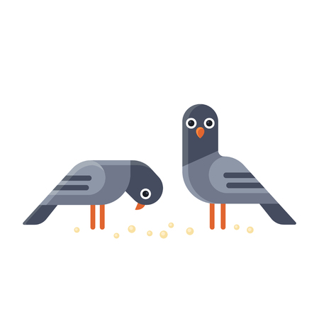 Two funny cartoon pigeons illustration. Geometric flat vector style. Ilustração
