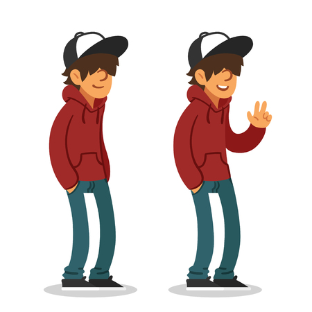 Smiling teenager in hoodie and baseball cap, two different poses. Isolated vector illustration.