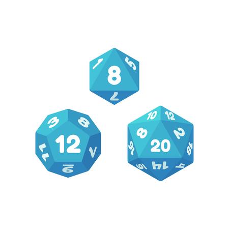 Set von polyedrischen Würfel für Fantasy-Rollenspiel Tabletop-Spiele. 8, 12 und 20 Seiten. Flache Symbole für Anwendungen und Websites.
