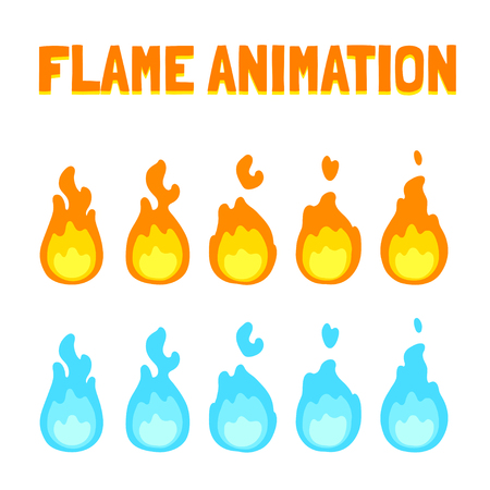 blue flame: Cartoon flame animation for game. Normal and blue magic fire. Short 5 frame loop.