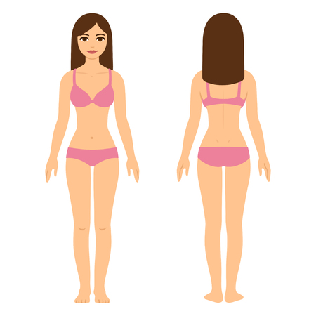 Young pretty woman in underwear, beauty and health illustration. Full body front and back view.