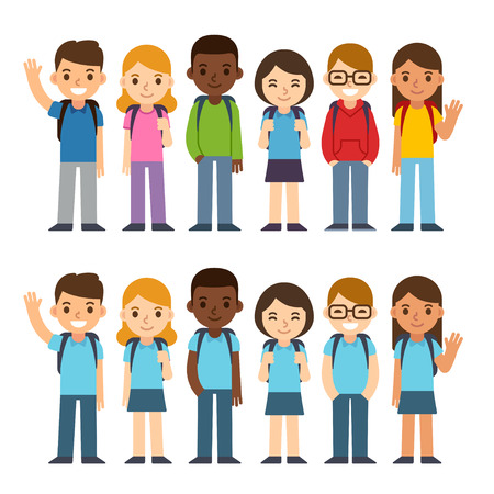 Set of diverse children with backpacks in school uniform and casual clothes. Cute cartoon simple flat vector style. Back to school illustration.