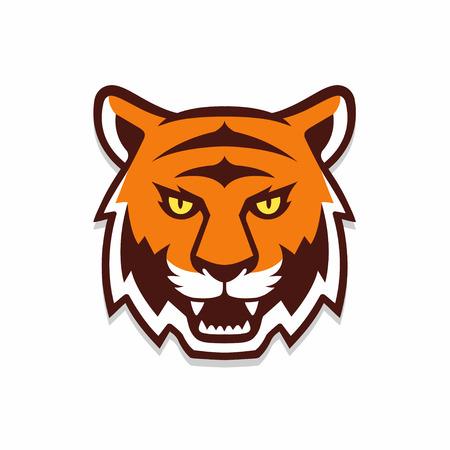Illustration de tête de tigre, mascotte de sport ou icône d'équipe. Style de bande dessinée traditionnel.
