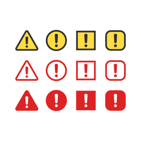 danger signs: Warning, attention signs set. Exclamation mark symbol, bright danger colors. Triangle, circle and rectangle icons.