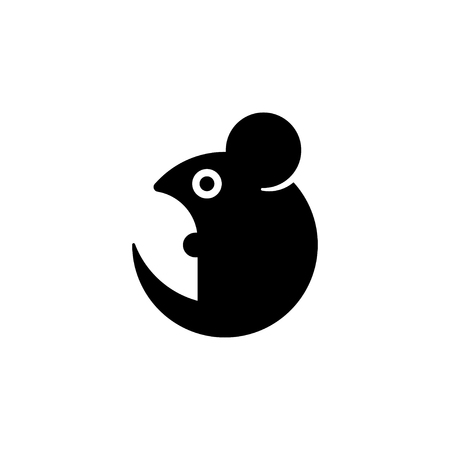 Simple stylized cartoon mouse icon. Geometric rat silhouette Vectores