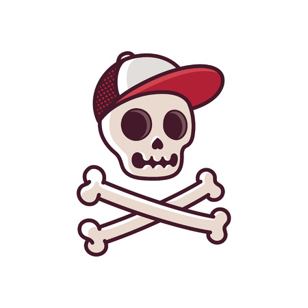 Cartoon human skull in baseball cap with crossbones. Cool comic style illustration. Иллюстрация