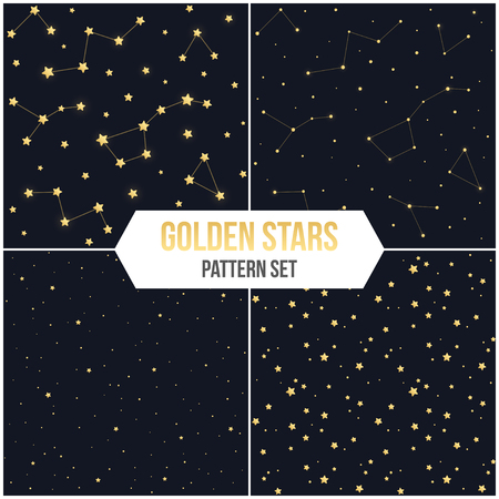 costellazioni: Seamless star pattern set. Tileable vector backgrounds of golden stars and constellations.