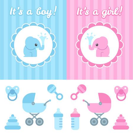 Baby shower design elements. Leuke cartoon baby olifant op elegante achtergrond, speelgoed en pasgeboren items. Jongen en meisje versie. Stock Illustratie
