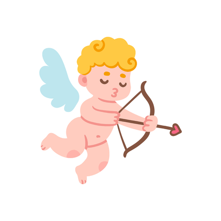 Cute cartoon cupid with bow and arrow. Funny Valentines Day vector illustration.