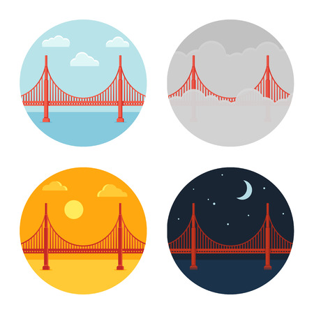 bay area: Golden Gate Bridge icon set. San Francisco in different time and weather. Flat cartoon vector style.