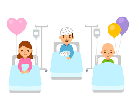 Sick children in hospital beds with bandages and IV drip. Cute flat cartoon kids, disease treatment illustration. Vettoriali