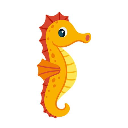 Cute cartoon orange seahorse. Isolated vector illustration.