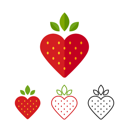 Heart shape strawberry icon. Flat design modern vector illustration. Color, line and black.
