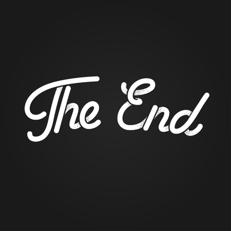 ending: The End, stylized vintage lettering. Black and white retro movie ending screen. Old cartoon vector background.