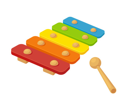 xylophone: Toy xylophone vector illustration. Bright cartoon childrens instrument.
