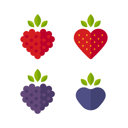 raspberries: Heart shaped berries icon set. Raspberry, blueberry, strawberry, blackberry. Flat stylized vector illustration.
