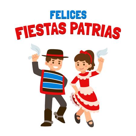 national: Felices Fiestas Patrias (español) - Feliz Día de la independencia de Chile, 18 de septiembre los niños lindos de la historieta en trajes nacionales bailando cueca, la danza tradicional. Vectores