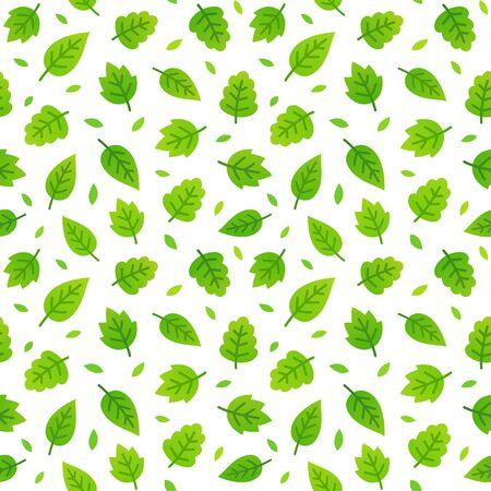 greeen: Greeen leaves seamless pattern. Vector illustration on white background. Illustration